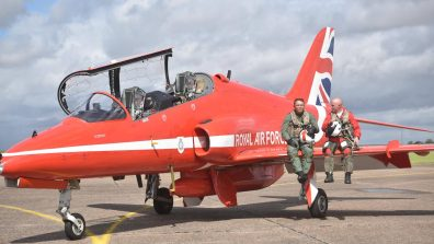 (L-R) Rory Underwood MBE and Squadron Leader Mike Ling. Photo: Steve Smailes for Lincolnshire Reporter