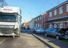 Two injured: Spalding Lorry crash leaves trail of destruction