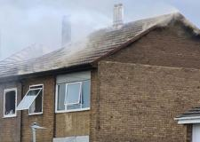 Roof caves in as Gainsborough flats catch fire