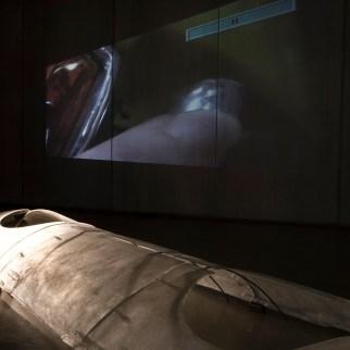 Third & Second, 2007, digital video projection. First, 2007, fiberglass, 430 x 120 cm. Photo by Suemasa Mareo