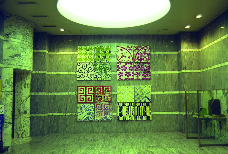 JYA-PA-N, 2001, Silkscreen ink, paint, plywood. Tachikawa International Art Festival 2001