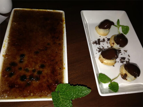 Saskatoon Berry creme brulee and chocolate ricotta gougeres.