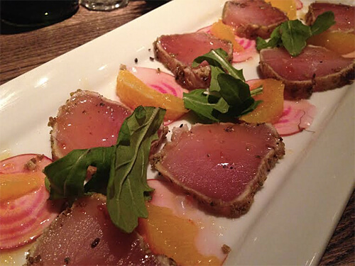 Tuna Tataki - Fresh Albacore Tuna, Candy Stripe Beets, Orange Segments & Sweet Sambai ($16)