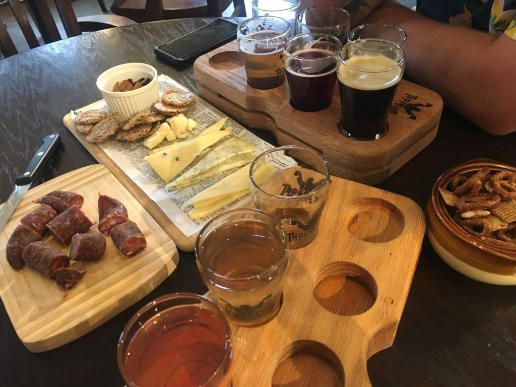 Troubled Monk Brewery Sampler and Food
