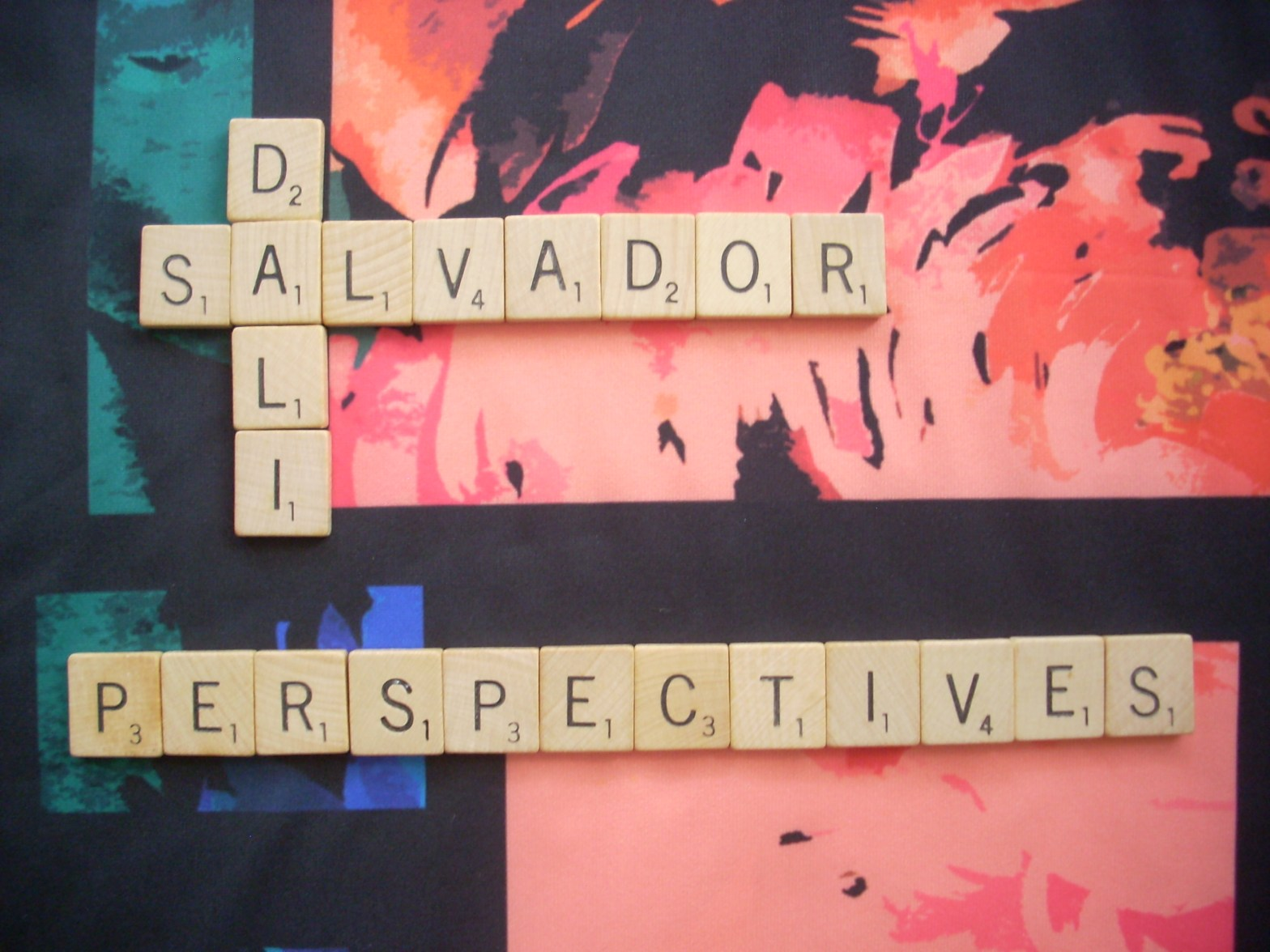 Title: Salvador Dali Perspectives with Scrabble Tiles on brightly colored background
