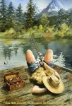 "McKenzie River Inspirations : Catchin' Zs, Watercolor painting by Linda Abblett of a man sleeping while fishing by a river. Original 22"" x 15"" $800; Giclee 20"" x 14"" $130"