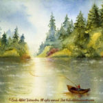 "McKenzie River Inspirations : Gone Fishin, Watercolor painting of a man fly fishing from a boat in the McKenzie River, Oregon. Original 15"" x 11"" $575"
