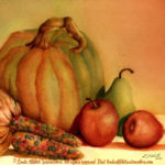 Still Life Paintings by Linda Abblett : Harvest, watercolor painting of pumpkins, apples, a pear, and Indian corn by Linda Abblett. Original and giclee prints available