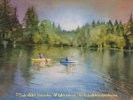 """McKenzie River Inspirations : On the Water, Watercolor painting of two people kayaking on a lake by Linda Abblett. Originla 11"""" x 15"""" $575"""