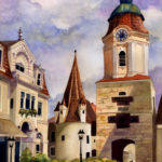 "Travels Collection : Watercolor painting of Krems of Austria by Linda Abblett. Original 15"" x 22"" $800"
