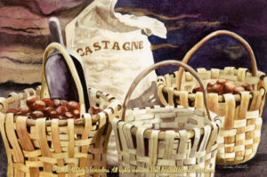 "linda abblett show at goodbean coffee : Travels Collection : Ready to Roast, Travels Paintings by Linda Abblett : Watercolor painting of baskets filled with chestnuts ready to roast and a gunny sack filled with chestnuts by Linda Abblett. Original 22"" x 15"" $900; giclee 22"" x 14.5"" $130"