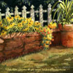 "Florals : Susans on the Wall, Watercolor painting of black eyed susans planted in a garden wall with white picket fence by Linda Abblett. Original 22"" x 15"" $575"