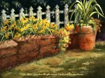 """Florals : Susans on the Wall, Watercolor painting of black eyed susans planted in a garden wall with white picket fence by Linda Abblett. Original 22"""" x 15"""" $575"""