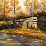 """Travels Collection : Tobacco Shed, Watercolor painting of a tobacco barn in autumn South Carolina by Linda Abblett. Original 15"""" x 22"""" $850; giclee same size as original $130."""