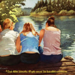 "McKenzie River Inspirations : Tres Amigas, Watercolor painting of three girls sitting on a dock by the McKenzie River by Linda Abblett. Original 15"" x 11"" $650"