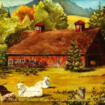 """McKenzie River Inspirations : Vida Barn, Watercolor of a red barn in early autumn with goats by Linda Abblett. Original 15"""" x 11"""" $700; giclee same size as original $75"""
