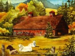 "McKenzie River Inspirations : Vida Barn, Watercolor of a red barn in early autumn with goats by Linda Abblett. Original 15"" x 11"" $700; giclee same size as original $75"