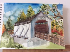 First Plein Air Outing for Linda Abblett's Art Students!: Plein air painting of the antelope Creek covered bridge in Eagle Point by a student of Linda Abblett