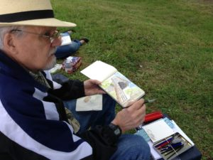 First Plein Air Outing for Linda Abblett's Art Students!: Another great plein air watercolor in progress!