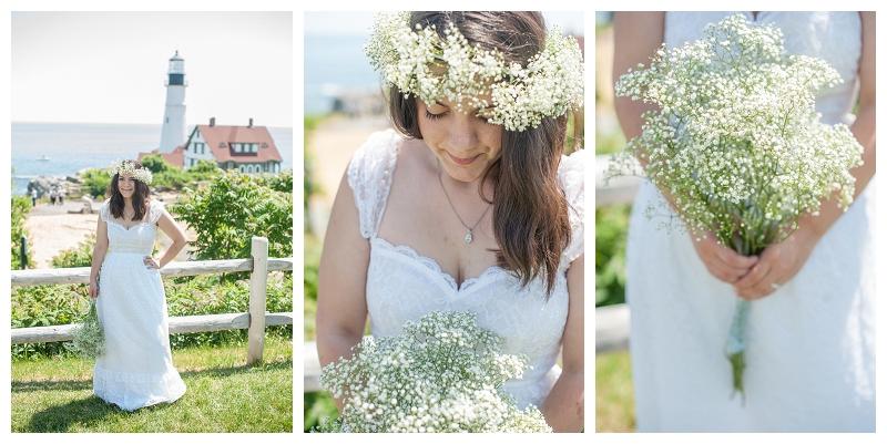 flower crown, wedding dress, bridal portraits, lighthouse portrait, portland wedding photographer