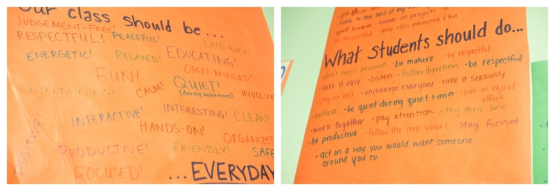 Our code of conduct that the students made.