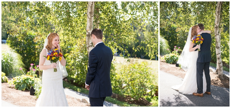 Rustic Warren Conference Center Wedding Photos by Linda Barry Photography. Ivy and Matt's first look together!