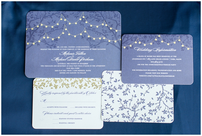 Melanie and Mike were married at Clay Hill Farm in Cape Neddick Maine. Click here to see more beautiful photos by Linda Barry Photography of their burgandy and navy wedding day! Navy and gold invitation suite