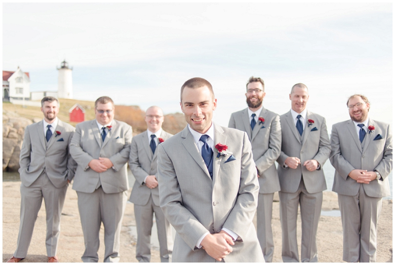 Melanie and Mike were married at Clay Hill Farm in Cape Neddick Maine. Click here to see more beautiful photos by Linda Barry Photography of their burgandy and navy wedding day! Groomsmen at the lighthouse