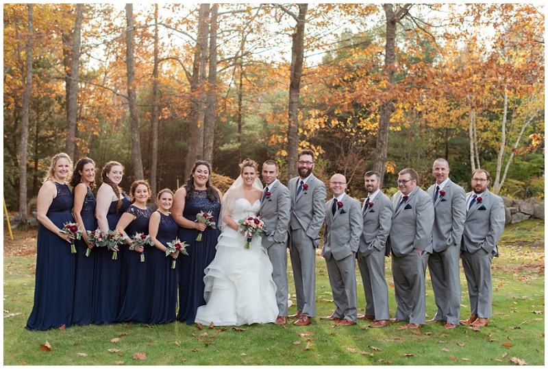 Melanie and Mike were married at Clay Hill Farm in Cape Neddick Maine. Click here to see more beautiful photos by Linda Barry Photography of their burgandy and navy wedding day! Wedding party photos in the fall.