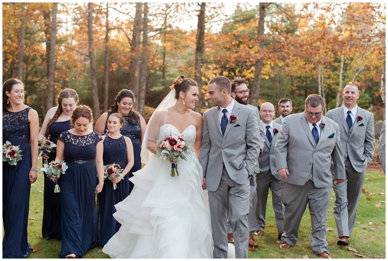 Melanie and Mike were married at Clay Hill Farm in Cape Neddick Maine. Click here to see more beautiful photos by Linda Barry Photography of their burgandy and navy wedding day! Fun wedding party photos in the fall.