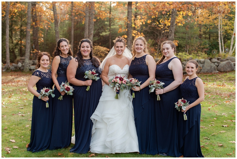 Melanie and Mike were married at Clay Hill Farm in Cape Neddick Maine. Click here to see more beautiful photos by Linda Barry Photography of their burgandy and navy wedding day! Fall bridal party photos