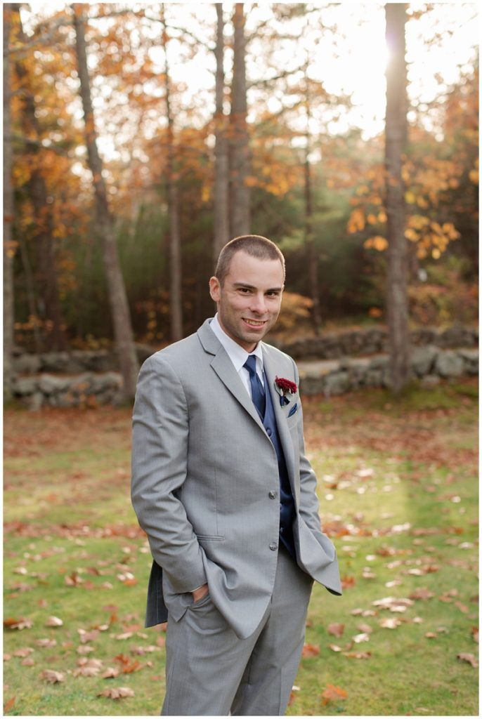 Melanie and Mike were married at Clay Hill Farm in Cape Neddick Maine. Click here to see more beautiful photos by Linda Barry Photography of their burgandy and navy wedding day! Fall groom portrait.