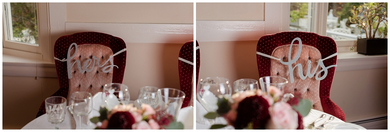 Melanie and Mike were married at Clay Hill Farm in Cape Neddick Maine. Click here to see more beautiful photos by Linda Barry Photography of their burgandy and navy wedding day! Sweetheart table with chair signs.