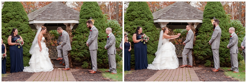 Melanie and Mike were married at Clay Hill Farm in Cape Neddick Maine. Click here to see more beautiful photos by Linda Barry Photography of their burgandy and navy wedding day! Breaking the glass tradition at the wedding ceremony.