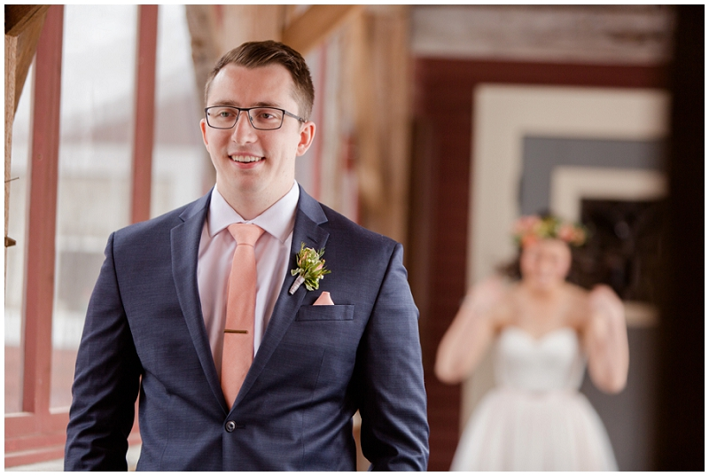 Emily and Nick were married at Stone Mountain Arts Center. Click here to see more wedding images by Linda Barry Photography. First look.