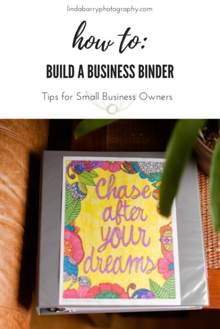 Tips on creating a business binder by Linda Barry Photography - a Boston wedding photographer.