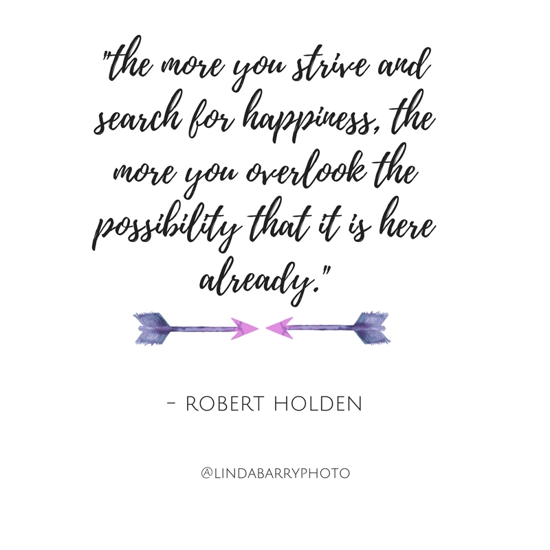 The more you strive and search for happiness, the more you overlook the possibility that it is here already. Inspirational quote.