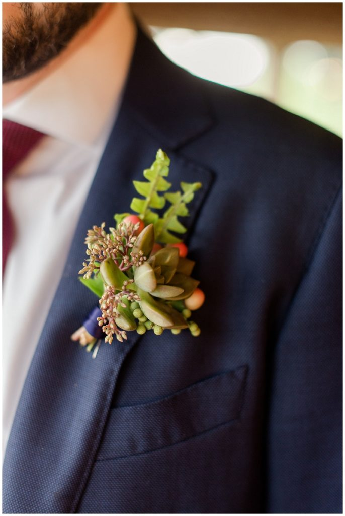 Succulent boutonniere for the groom and his groomsmen at The Barn at Gibbet Hill!