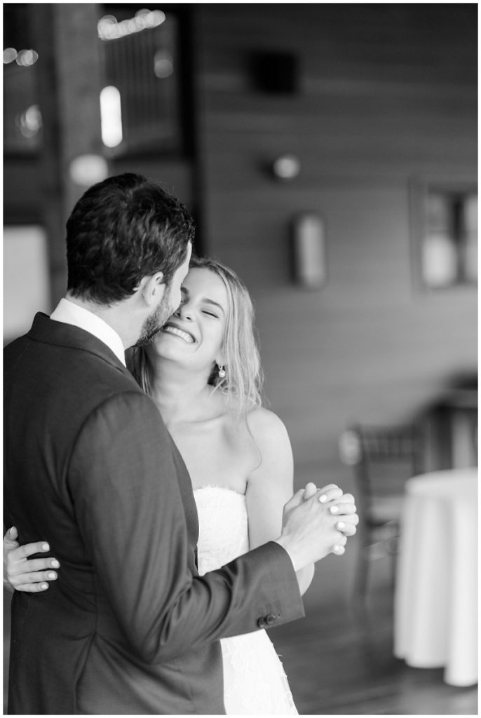 Portrait of the bride and groom dancing. Photos by Linda Barry Photography, a Boston based wedding photographer.