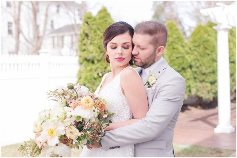 Intimate bride and groom portrait during the styled wedding shoot at The Commons 1854. Photo by Linda Barry Photography, Boston wedding photographer.