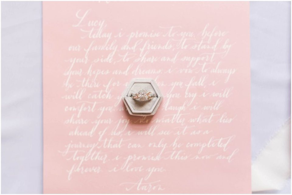Blush colored Her Vows by Write This Way Calligraphy. Photo by Linda Barry Photography.
