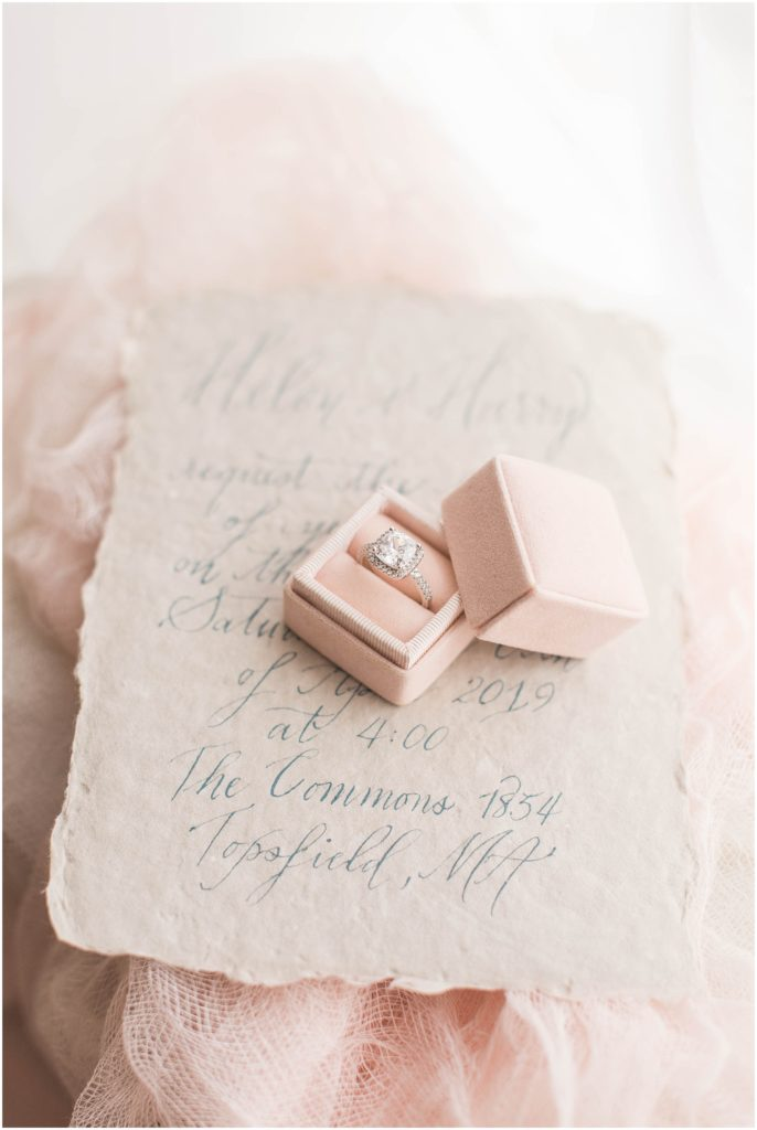 Blush colored ring box and The Commons 1854 wedding invitation. Photo by Linda Barry, Boston wedding photographer.