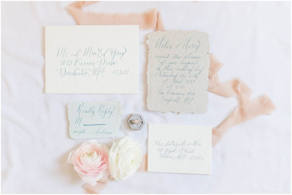 Full invitation suite by Write This Way Calligraphy. Photos by Linda Barry, Boston Wedding Photographer, during the styled wedding shoot at The Commons 1854.