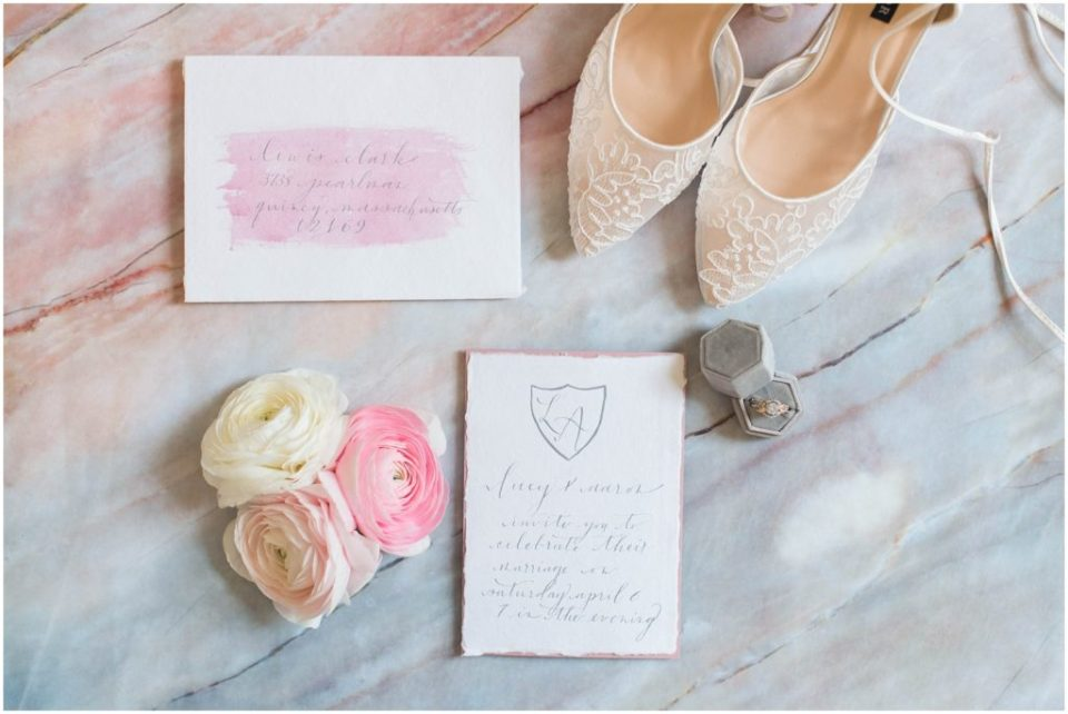 Basic invitation suite from Write this Way Calligraphy. Linda Barry, Boston wedding photography.