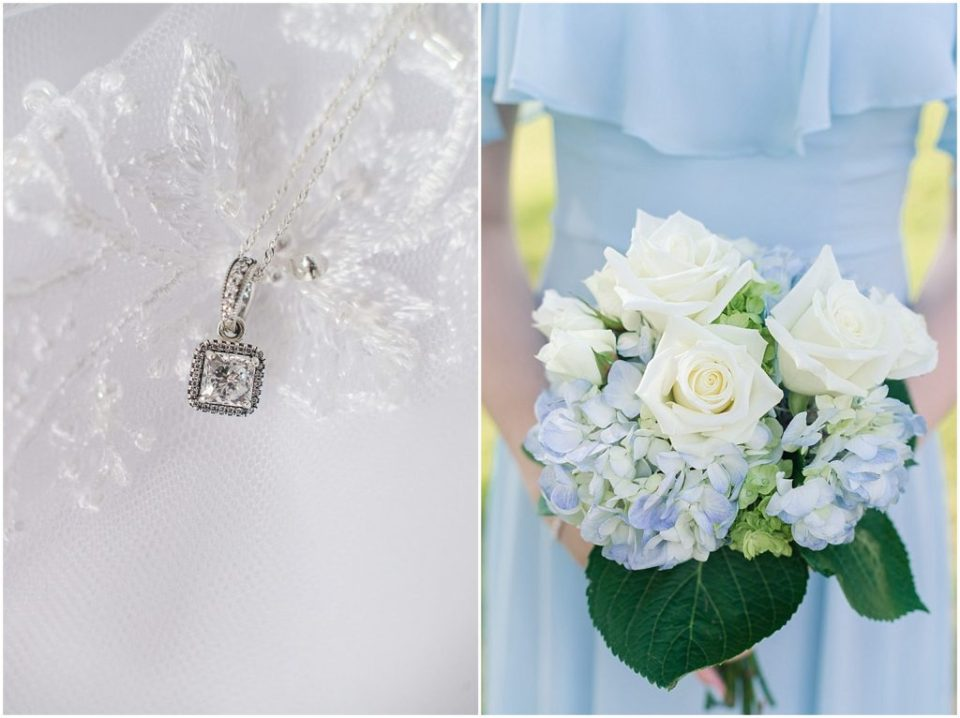 blue hydrangea bouquets and bridal jewelry