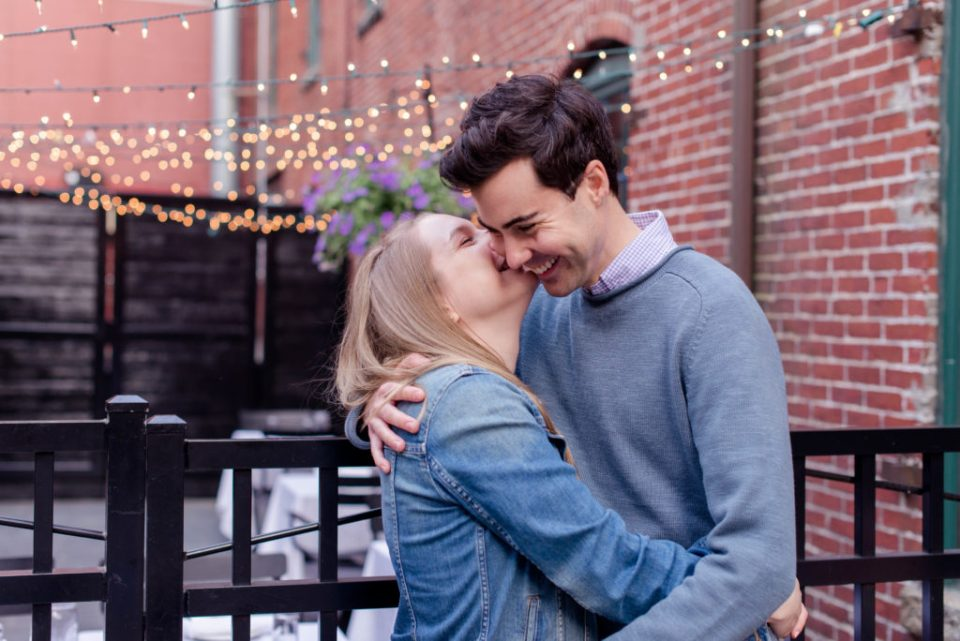 The best spots in  New England for engagement photos - The old port with the twinkle lights!