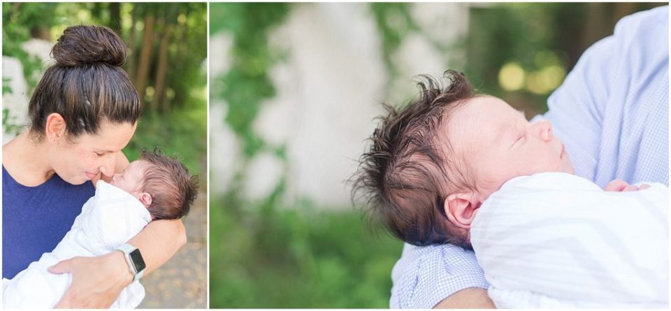 mom and dad holding Devon during this boston lifestyle newborn session.