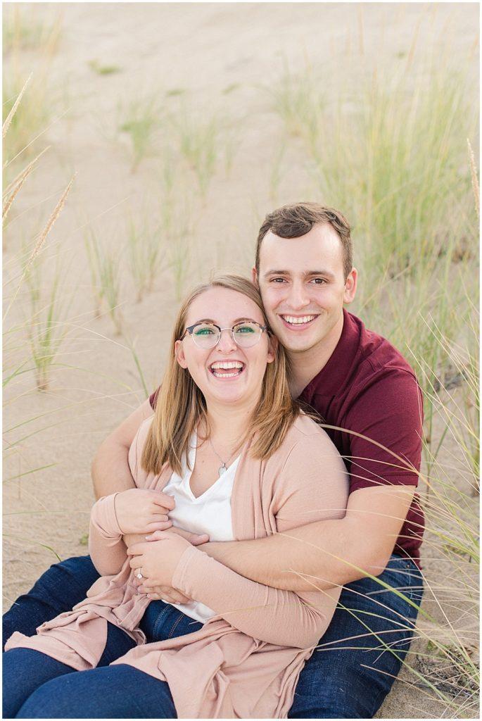 Summer engagement photos on Plum Island beach.