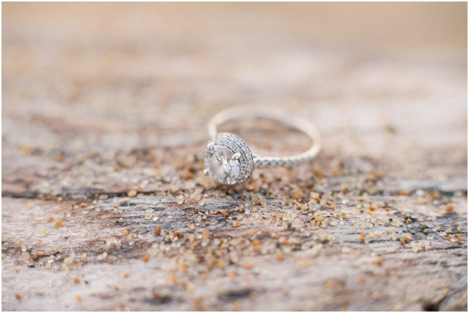 beautiful engagement ring on driftwood on Plum Island beach.
