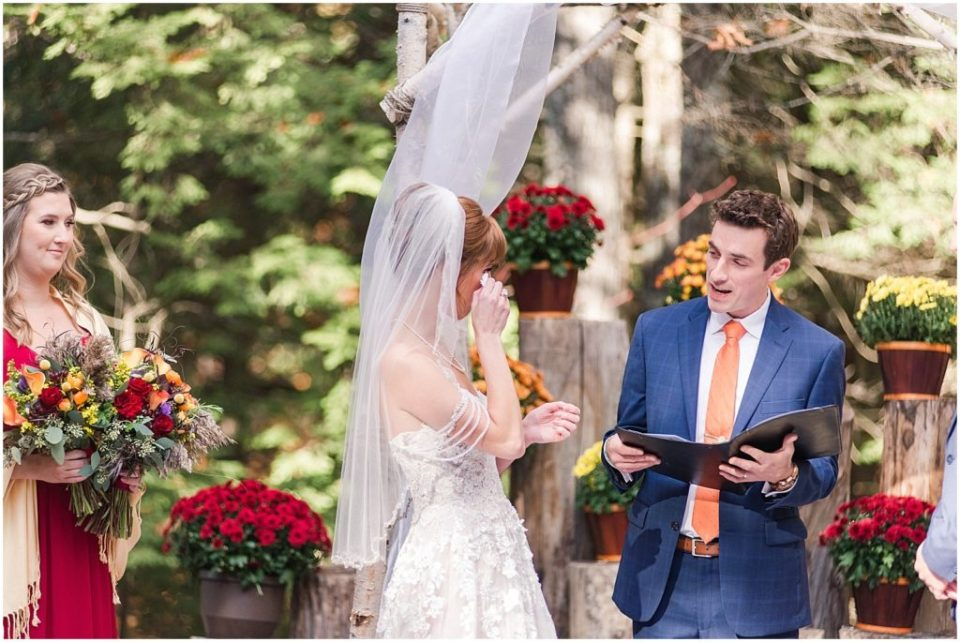 Fall outdoor wedding at Granite Ridge Estate and Barn in Maine.
